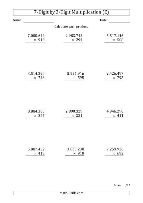 The Multiplying 7-Digit by 3-Digit Numbers with Period-Separated Thousands (E) Math Worksheet