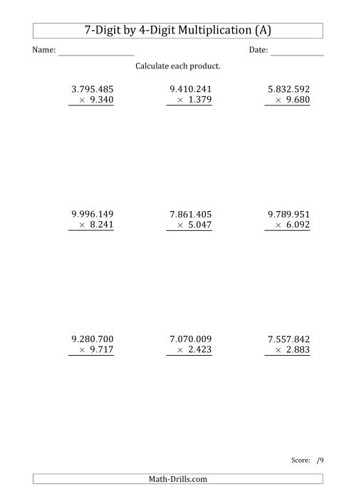 The Multiplying 7-Digit by 4-Digit Numbers with Period-Separated Thousands (A) Math Worksheet