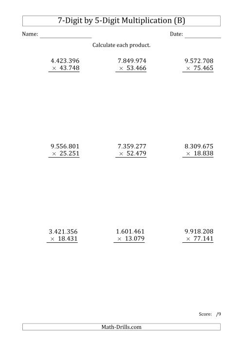 The Multiplying 7-Digit by 5-Digit Numbers with Period-Separated Thousands (B) Math Worksheet