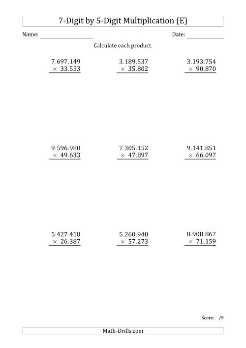 The Multiplying 7-Digit by 5-Digit Numbers with Period-Separated Thousands (E) Math Worksheet