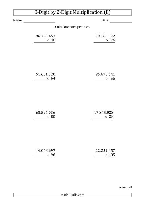 The Multiplying 8-Digit by 2-Digit Numbers with Period-Separated Thousands (E) Math Worksheet