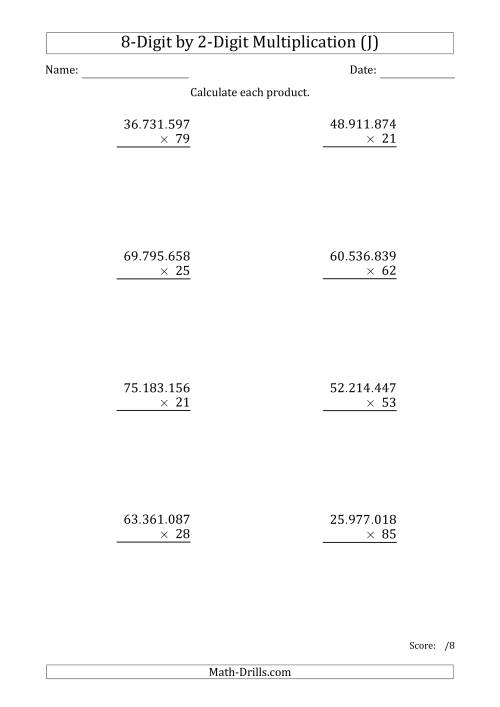 The Multiplying 8-Digit by 2-Digit Numbers with Period-Separated Thousands (J) Math Worksheet
