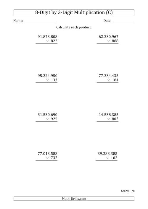 The Multiplying 8-Digit by 3-Digit Numbers with Period-Separated Thousands (C) Math Worksheet