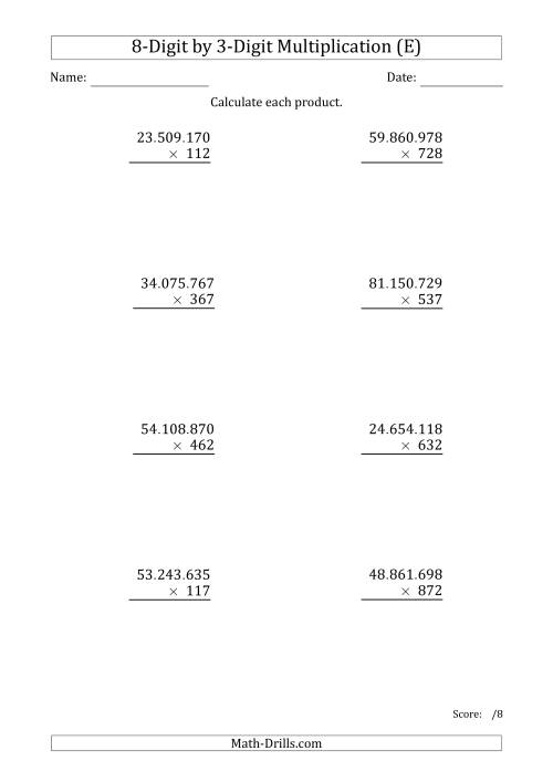 The Multiplying 8-Digit by 3-Digit Numbers with Period-Separated Thousands (E) Math Worksheet