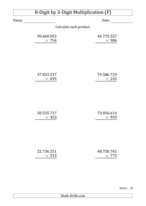 The Multiplying 8-Digit by 3-Digit Numbers with Period-Separated Thousands (F) Math Worksheet