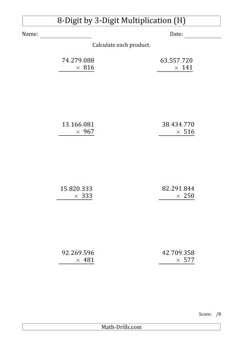 The Multiplying 8-Digit by 3-Digit Numbers with Period-Separated Thousands (H) Math Worksheet