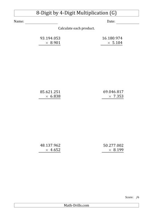 The Multiplying 8-Digit by 4-Digit Numbers with Period-Separated Thousands (G) Math Worksheet