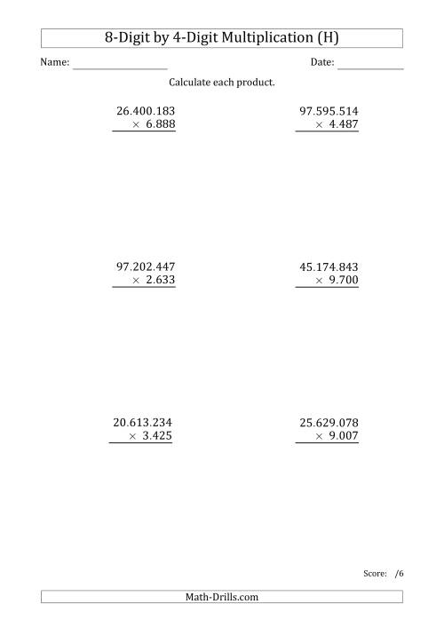 The Multiplying 8-Digit by 4-Digit Numbers with Period-Separated Thousands (H) Math Worksheet