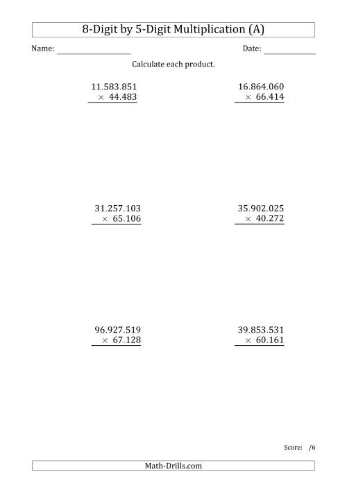 The Multiplying 8-Digit by 5-Digit Numbers with Period-Separated Thousands (A) Math Worksheet