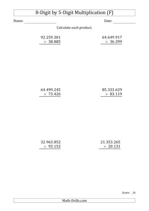 The Multiplying 8-Digit by 5-Digit Numbers with Period-Separated Thousands (F) Math Worksheet