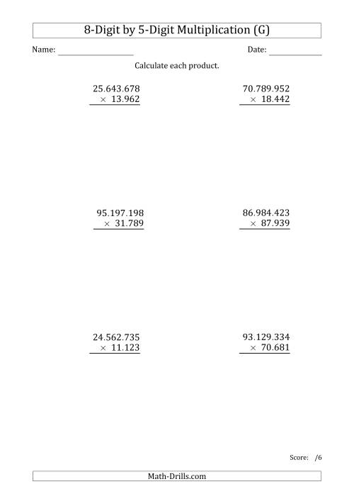 The Multiplying 8-Digit by 5-Digit Numbers with Period-Separated Thousands (G) Math Worksheet
