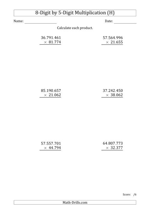 The Multiplying 8-Digit by 5-Digit Numbers with Period-Separated Thousands (H) Math Worksheet