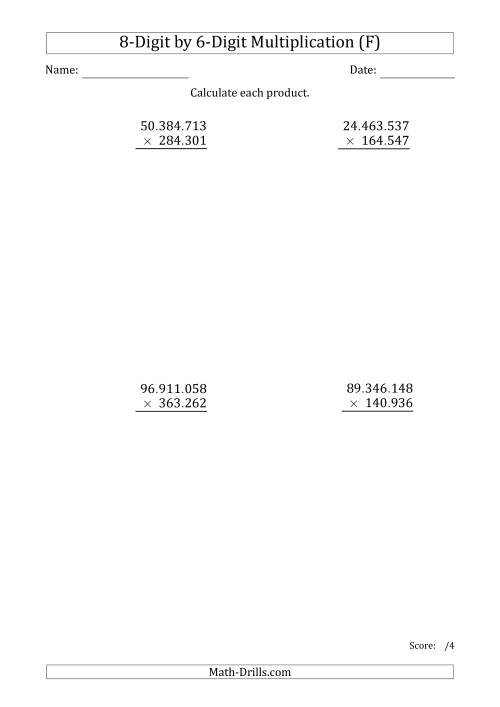 The Multiplying 8-Digit by 6-Digit Numbers with Period-Separated Thousands (F) Math Worksheet