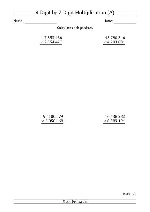 The Multiplying 8-Digit by 7-Digit Numbers with Period-Separated Thousands (All) Math Worksheet