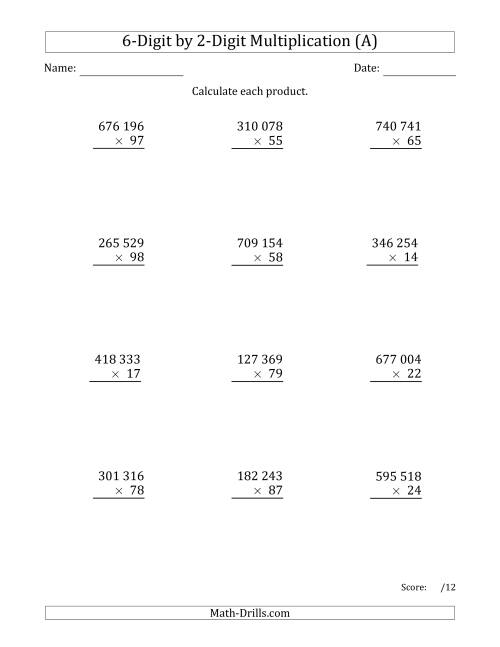 The Multiplying 6-Digit by 2-Digit Numbers with Space-Separated Thousands (A) Math Worksheet