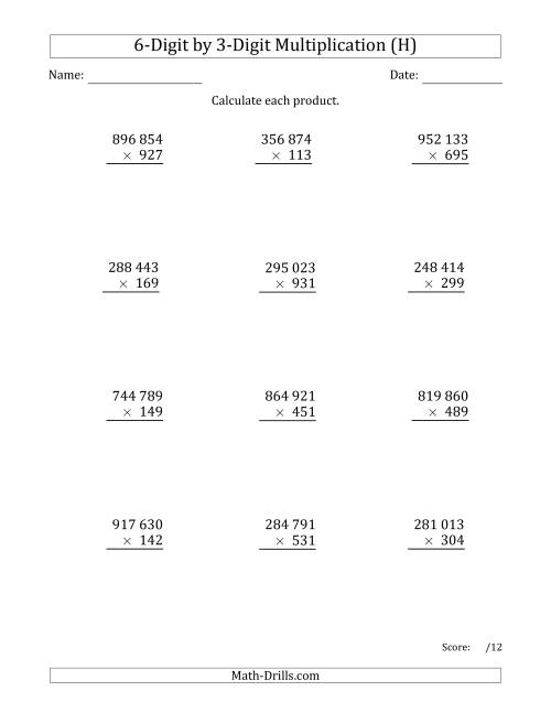 The Multiplying 6-Digit by 3-Digit Numbers with Space-Separated Thousands (H) Math Worksheet