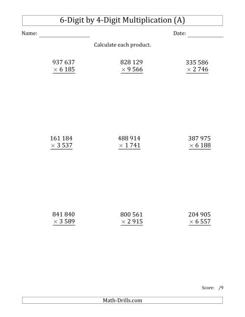 The Multiplying 6-Digit by 4-Digit Numbers with Space-Separated Thousands (A) Math Worksheet