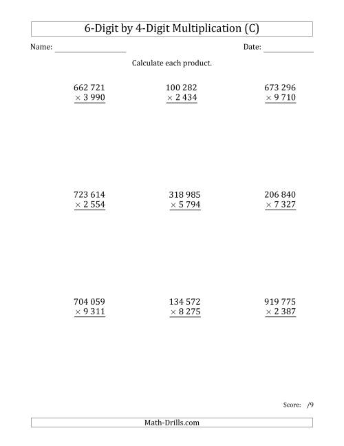 The Multiplying 6-Digit by 4-Digit Numbers with Space-Separated Thousands (C) Math Worksheet
