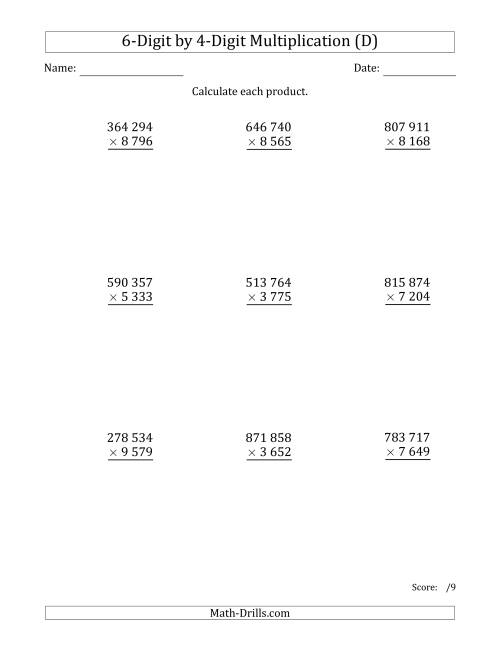 The Multiplying 6-Digit by 4-Digit Numbers with Space-Separated Thousands (D) Math Worksheet