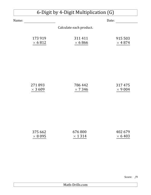 The Multiplying 6-Digit by 4-Digit Numbers with Space-Separated Thousands (G) Math Worksheet