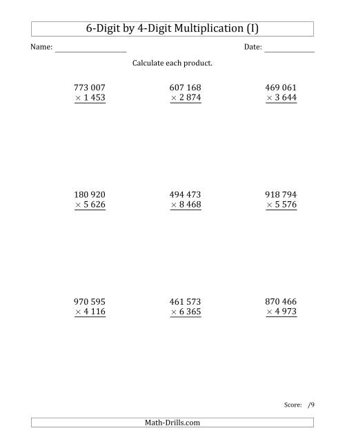 The Multiplying 6-Digit by 4-Digit Numbers with Space-Separated Thousands (I) Math Worksheet