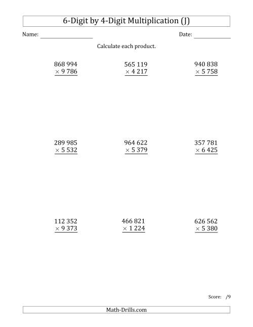 The Multiplying 6-Digit by 4-Digit Numbers with Space-Separated Thousands (J) Math Worksheet