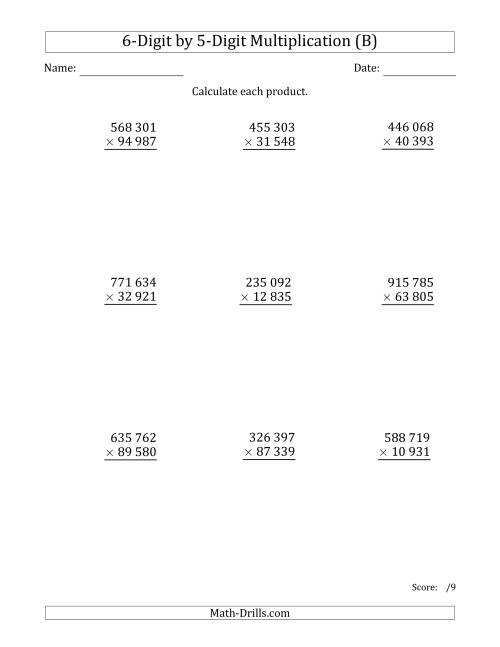 The Multiplying 6-Digit by 5-Digit Numbers with Space-Separated Thousands (B) Math Worksheet