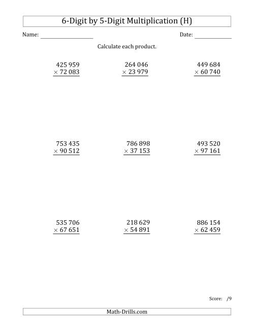 The Multiplying 6-Digit by 5-Digit Numbers with Space-Separated Thousands (H) Math Worksheet