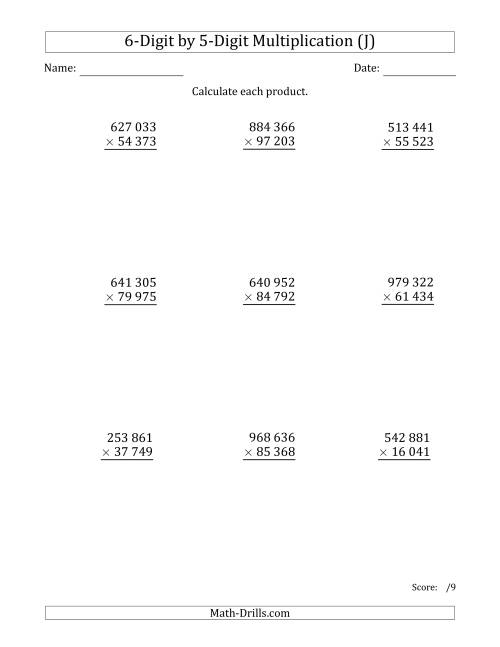 The Multiplying 6-Digit by 5-Digit Numbers with Space-Separated Thousands (J) Math Worksheet