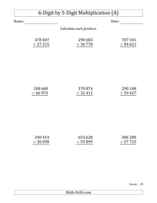The Multiplying 6-Digit by 5-Digit Numbers with Space-Separated Thousands (All) Math Worksheet