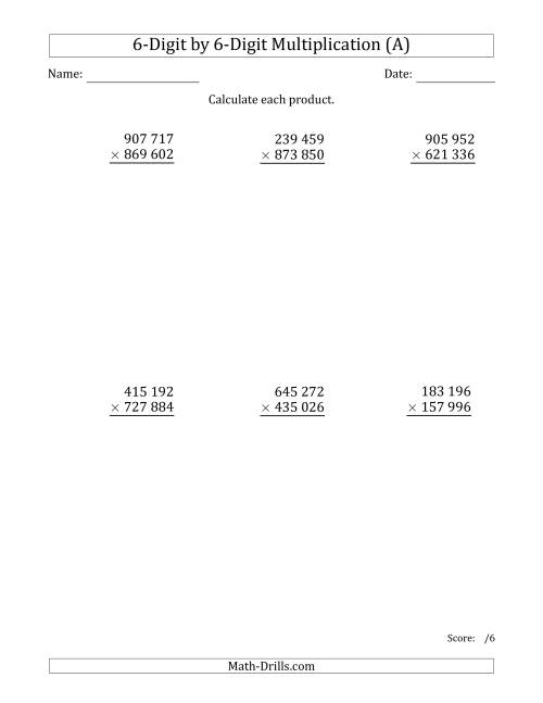 The Multiplying 6-Digit by 6-Digit Numbers with Space-Separated Thousands (A) Math Worksheet