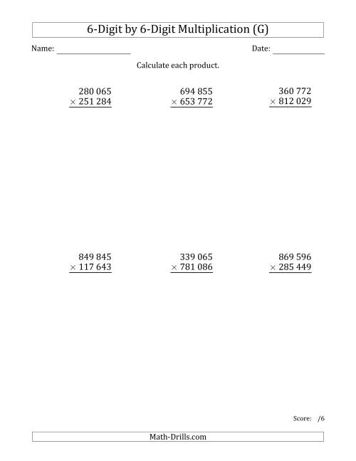 The Multiplying 6-Digit by 6-Digit Numbers with Space-Separated Thousands (G) Math Worksheet
