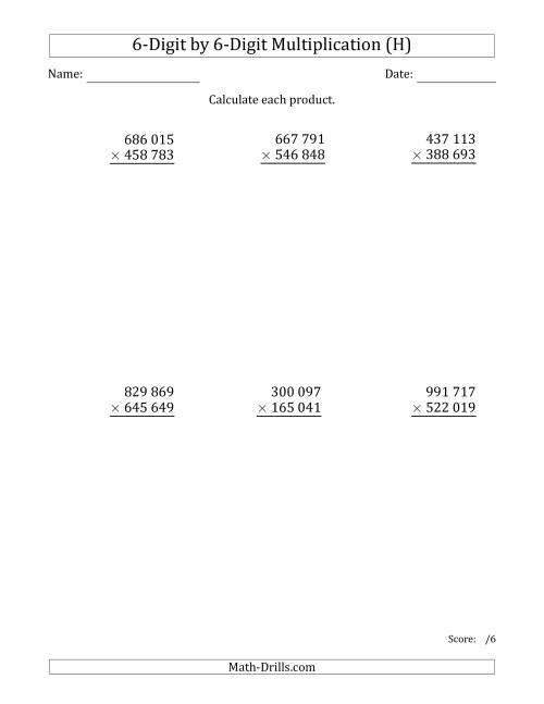 The Multiplying 6-Digit by 6-Digit Numbers with Space-Separated Thousands (H) Math Worksheet