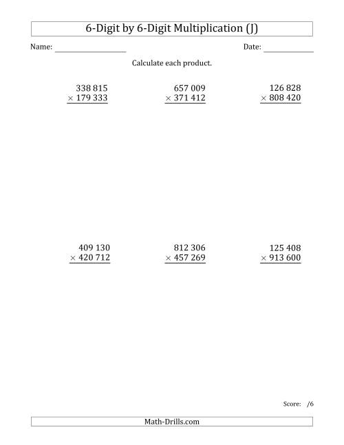 The Multiplying 6-Digit by 6-Digit Numbers with Space-Separated Thousands (J) Math Worksheet