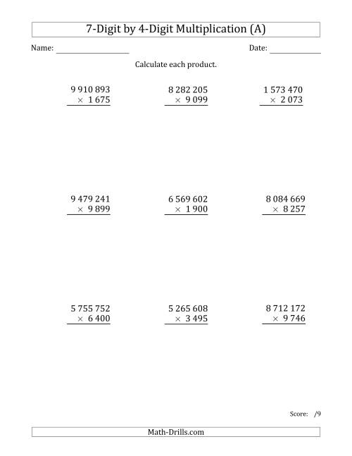 The Multiplying 7-Digit by 4-Digit Numbers with Space-Separated Thousands (A) Math Worksheet