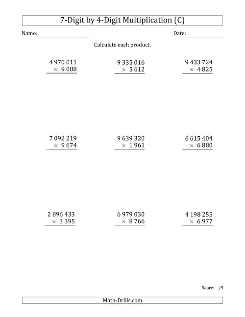 The Multiplying 7-Digit by 4-Digit Numbers with Space-Separated Thousands (C) Math Worksheet