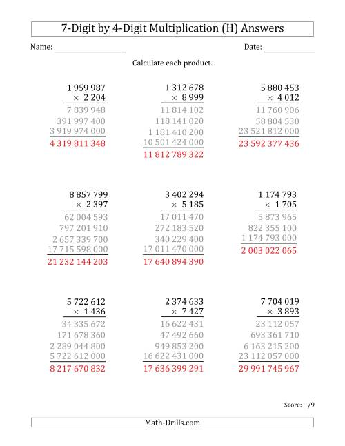The Multiplying 7-Digit by 4-Digit Numbers with Space-Separated Thousands (H) Math Worksheet Page 2
