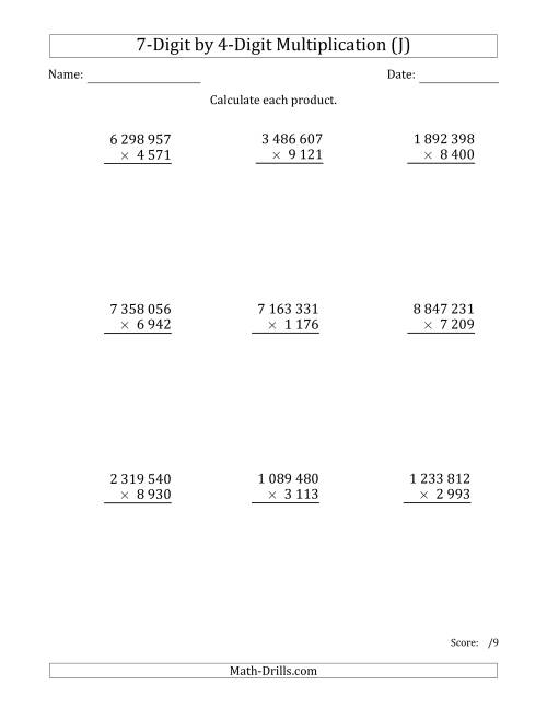 The Multiplying 7-Digit by 4-Digit Numbers with Space-Separated Thousands (J) Math Worksheet