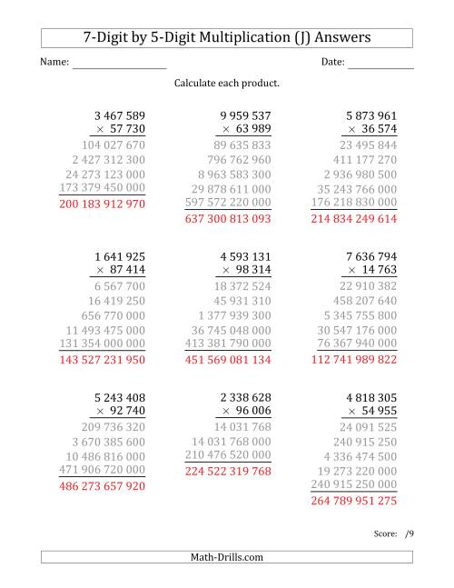 The Multiplying 7-Digit by 5-Digit Numbers with Space-Separated Thousands (J) Math Worksheet Page 2