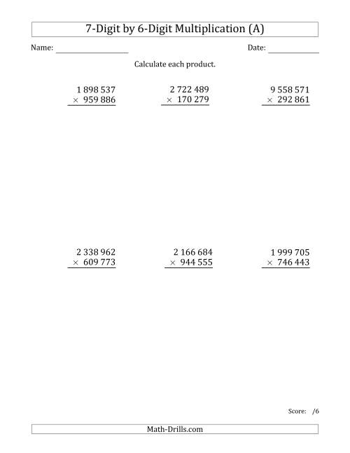 The Multiplying 7-Digit by 6-Digit Numbers with Space-Separated Thousands (A) Math Worksheet