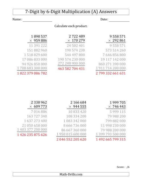 The Multiplying 7-Digit by 6-Digit Numbers with Space-Separated Thousands (A) Math Worksheet Page 2