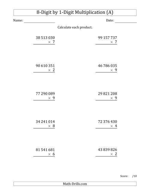 The Multiplying 8-Digit by 1-Digit Numbers with Space-Separated Thousands (A) Math Worksheet