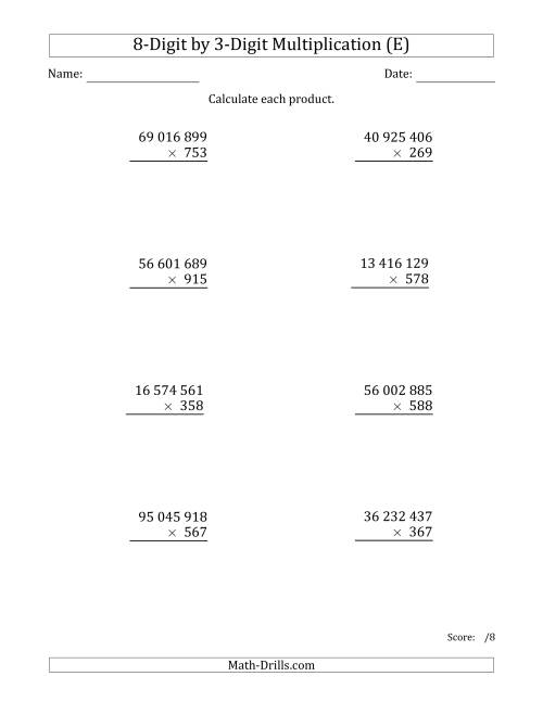 The Multiplying 8-Digit by 3-Digit Numbers with Space-Separated Thousands (E) Math Worksheet