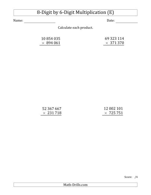 The Multiplying 8-Digit by 6-Digit Numbers with Space-Separated Thousands (E) Math Worksheet
