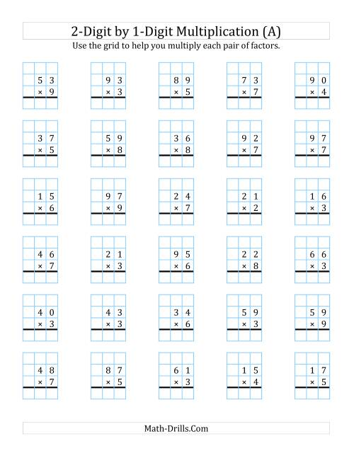 math worksheet : 2 digit by 1 digit multiplication with grid support a long  : Two Digit By Two Digit Multiplication Worksheets Free