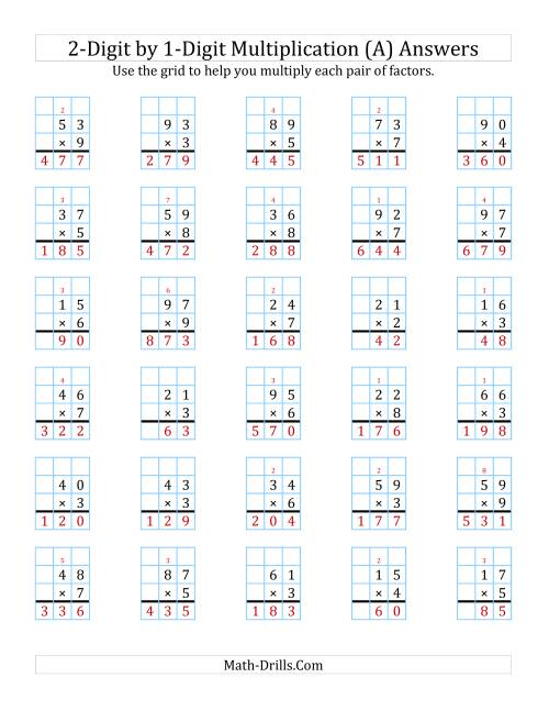 The 2-Digit by 1-Digit Multiplication with Grid Support (A) Math Worksheet Page 2