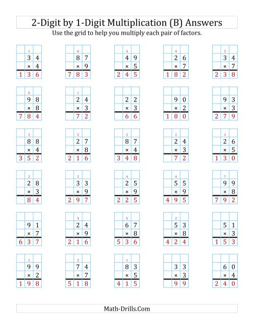 The 2-Digit by 1-Digit Multiplication with Grid Support (B) Math Worksheet Page 2