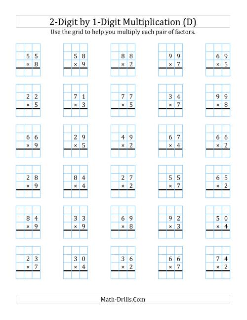 The 2-Digit by 1-Digit Multiplication with Grid Support (D) Math Worksheet