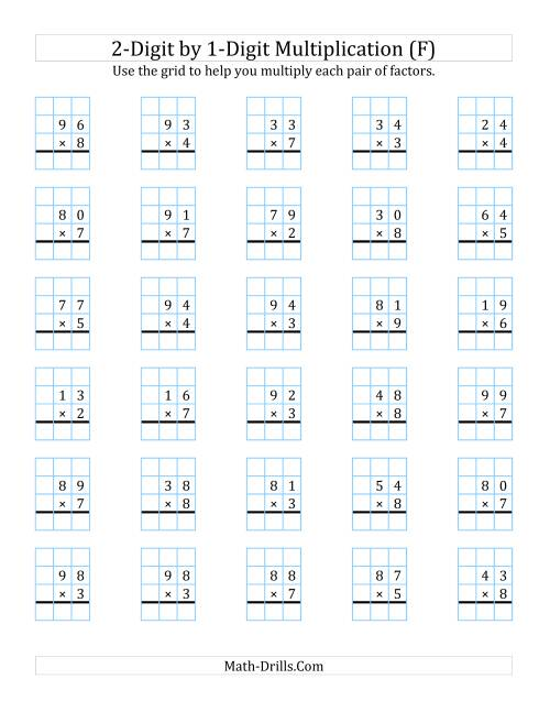 The 2-Digit by 1-Digit Multiplication with Grid Support (F) Math Worksheet