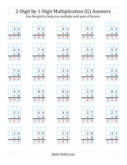 The 2-Digit by 1-Digit Multiplication with Grid Support (G) Math Worksheet Page 2